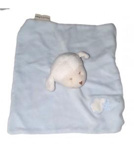 Doudou plat Mouton blanc bleu nuage etoile Bout Chou Monoprix