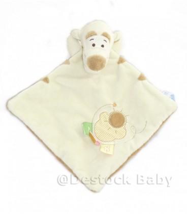 Doudou plat TIGROU beige marron étiquettes soleil brodé - Disney Baby