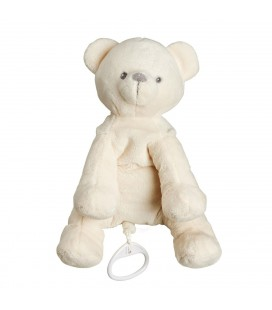 Doudou Peluche Ours blanc musical 22 cm TEX Baby Carrefour