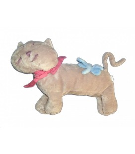 Doudou peluche CHaT gris JaCaDI noeud rose bleu 32 cm + queue