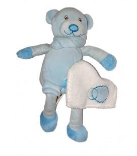 Doudou ours bleu Mouchoir blanc Baby Nat 22 cm BN292
