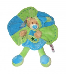Doudou plat ours bleu vert rond poche etoiles TOODO