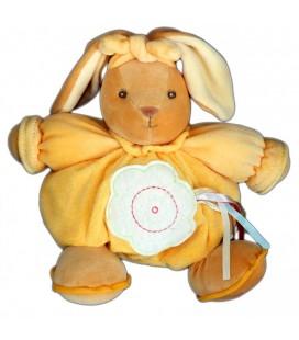 Doudou ours KaLOO boule abricot Jaune orange Que du Bonheur 10 ème anniversaire 24 cm