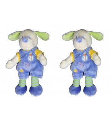 LOT de 2 - Doudou chien bleu MOTS D'ENFaNTS poussin maison brodés 26 cm