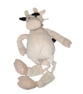 Grande peluche Doudou Vache blanche beige foulard rayures 70 cm PLAYKIDS