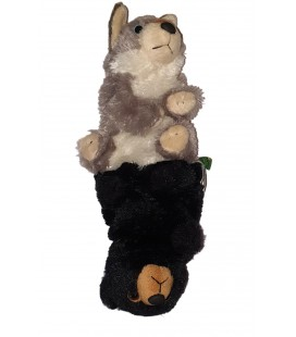 Peluche doudou Marionnette Reversible Ours Husky 32 cm Wild Republic