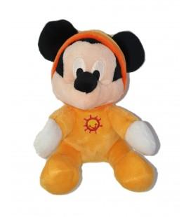 Doudou Mickey Pyjama orange Capuche assis 16 cm Disney Nicotoy