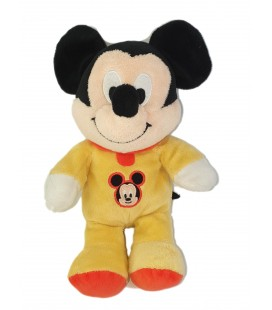 Doudou peluche Mickey Pyjama jaune 26 cm Disneyy Nicotoy