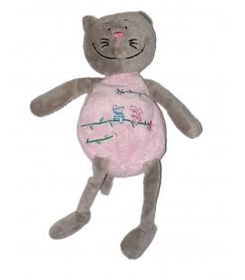 Doudou peluche Chat gris rose 22 cm MGM Kekchoz en P Luche