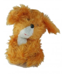 Peluche Chien lapin orange blanc rigide Nounours 30 cm