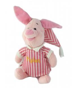 Peluche doudou Porcinet Piglet Pyjama bonnet rayures 28 cm