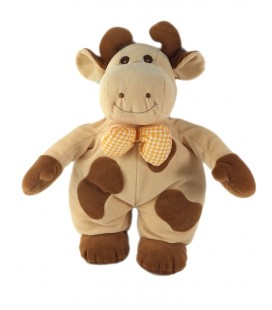 Peluche doudou Vache beige marron noeud carreaux orange grelot 38 cm Jollybaby