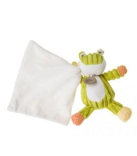 Doudou grenouille verte Mouchoir blanc Baby nat 18 cm