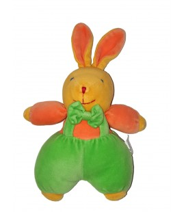 Peluche doudou Lapin jaune orange vert Vulli 25 cm Grelot