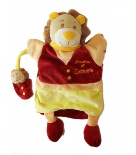 Doudou et Compagnie Marionnette LION Léon et bébé jaune rouge bordeaux