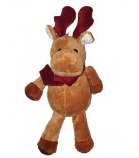 Peluche Renne Cerf Elan Caribou marron Echarpe bordeaux Promeco 42 cm