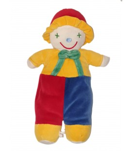 Peluche doudou Clown Francoise Saget jaune bleu rouge 36 cm