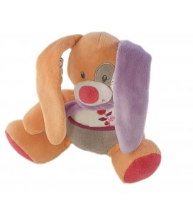 Doudou musical Lapin Tex Baby rose orange mauve tissu fleuri 20 cm
