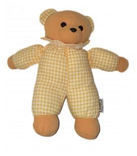 Ancien doudou peluche ours marron jaune vichy carreaux beige grelot 30 cm Nicotoy