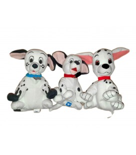 Lot de 3 doudous peluches 101 Dalmatiens Disney Jemini env 18 cm