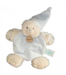 Doudou plat OURS blanc bleu ciel BaBY NaT Babynat DETC BN659 Ourson ca¢lin