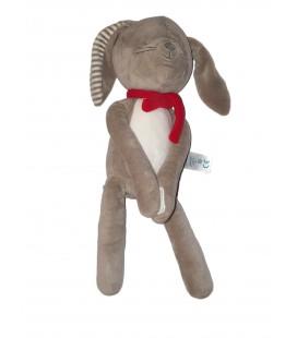 Doudou peluche Lapin gris blanc rayures Echarpe rouge 38 cm OBAIBI