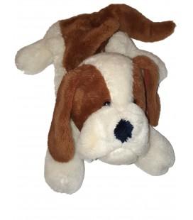 Ancienne Peluche Range Pyjama vintage chien marron blanc Made in Korea 40 cm
