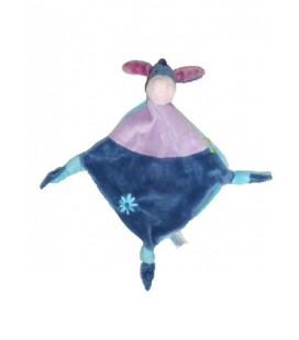 Doudou plat BOURRIQUET Disney Baby 3 noeuds Bleu violet fleur