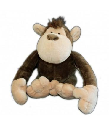 Doudou peluche singe marron beige Nici 24 cm assis