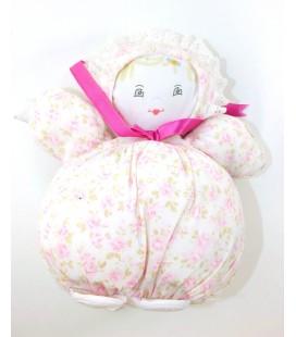 Vintage - Doudou tissu Chiffon Poupee boule Fleurs ruban rose bouche coeur 25 cm SA ID