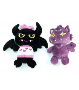 LOT DE 2 - Peluche doudou Monster High Chat violet Chauve Souris Gipsy