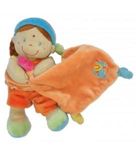 Doudou fille indienne Mouchoir orange 21 cm Pommette