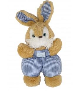 Peluche Doudou lapin beige bleu carreaux Salopette Tartine et Chocolat 32 cm