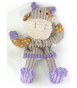 Peluche Doudou Marionnette Vache grise violet fleurs 36 cm Baby Nat Patchwork BN683