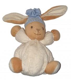 Doudou Lapin Kaloo blanc beige Bonnet bleu 16 cm Kaloo