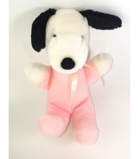 Peluche doudou Vintage Snoopy blanc rose 28 cm 1968 United Syndicate