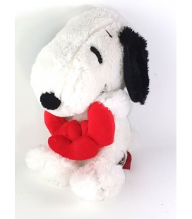 Doudou peluche Chien blanc Snoopy Coeurs Play by Play assis 22 cm