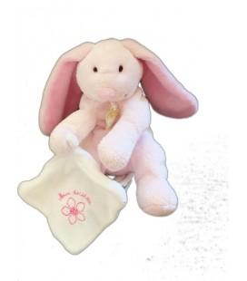 Doudou et Compagnie LaPIN rose Mouchoir blanc Mon doudou Fleur brodée 13 cm