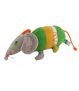 Peluche Doudou Souris Rat gris vert orange 32 cm ANNA CLUB PLUSH