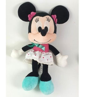 Doudou peluche Minnie robe rose blanche pois chaussons bleus 32 cm Disney Nicotoy 587/1420