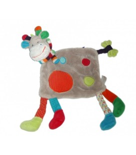 Doudou plat GIRaFE Vache grise NICOTOY rond rouge Echarpe