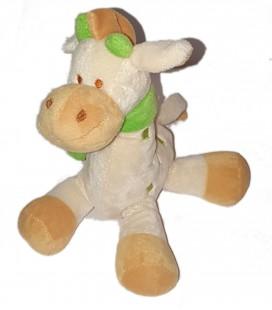 Peluche doudou Girafe blanc creme beige vert Echarpe Maxita 24 cm