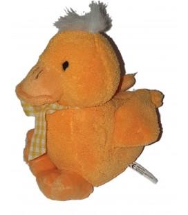 Peluche doudou Canard orange Noeud ruban jaune carreaux vichy 18 cm Maxita