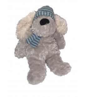 Peluche chien gris bonnet bleu rayures 32 cm Maxita