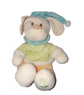Doudou Peluche chien bleu vert Orrange Fleur Bonnet 26 cm Maxita