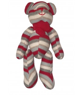 Doudou Peluche Ours gris rouge rayures Tricot 32 cm Maxita