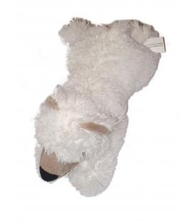 Doudou Peluche Ours blanc gris allonge 38 cm Maxita