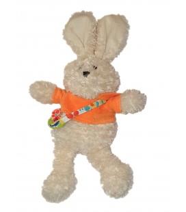 Peluche doudou Lapin blanc pull orange Sac 40 cm Maxita