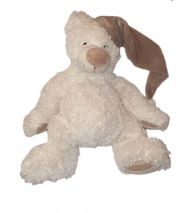 Grande peluche ours blanc bonnet nez beige gris 42 cm Maxita