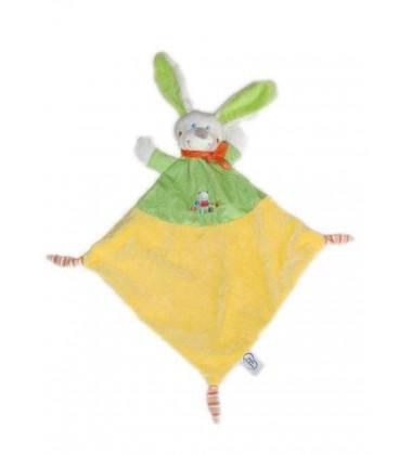 Doudou plat Lapin chien vert orange MOTS D'ENFANTS - 3 noeuds Chat brodé